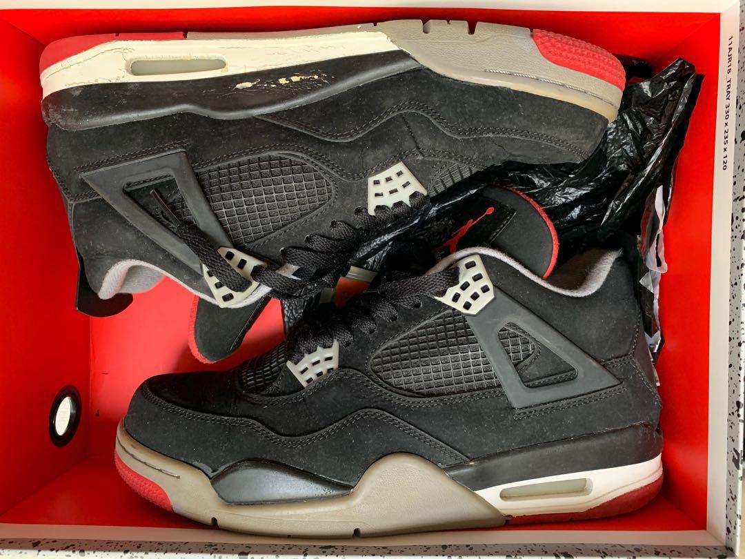 official photos 34e18 7dbfe Jordan 4 Bred, Men's Fashion, Footwear, Sneakers on Carousell