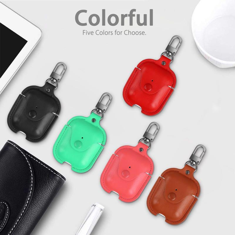 Leather case for Apple AirPods with keychain