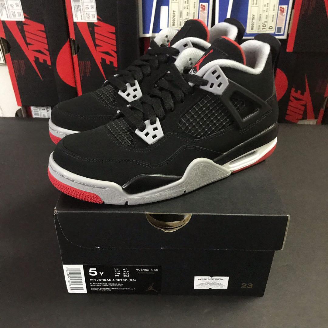Nike Air Jordan 4 Retro GS Bred US 5Y
