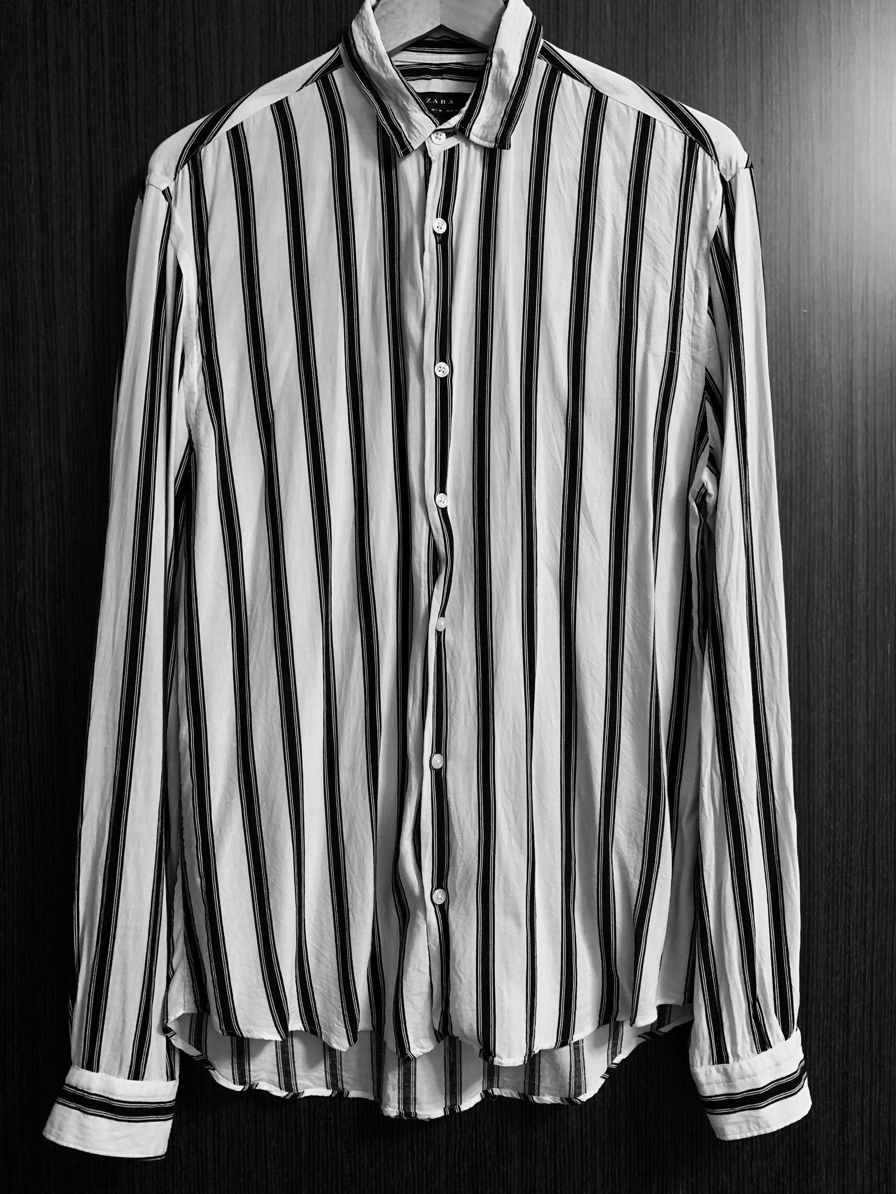 cf9f88d03229b4 (PRELOVED) ZARA FLOWY STRIPED SHIRT, Men's Fashion, Clothes, Tops on  Carousell