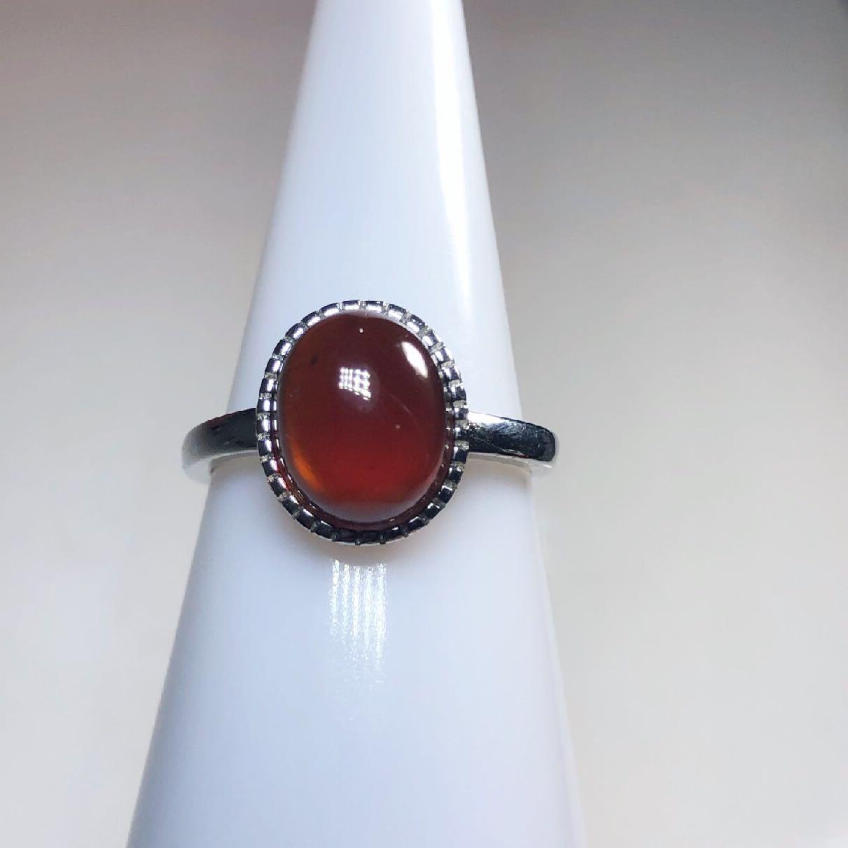 (Root Chakra stone ) Garnet bezel ring 石榴石包边戒指
