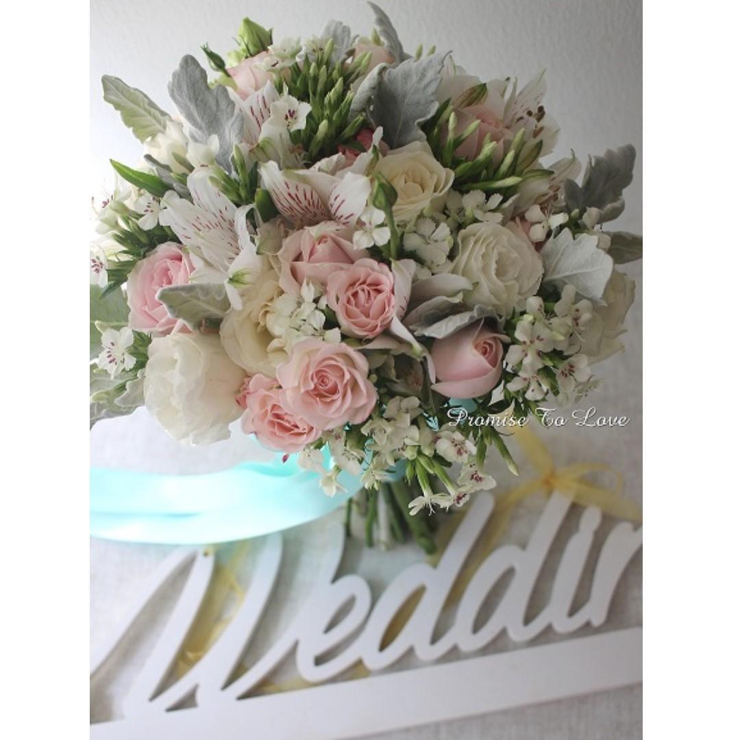 Rustic Fresh Light Pink & White bouquet (Wedding / ROM/ Bridesmaid / Proposal/ Anniversary/Birthday)