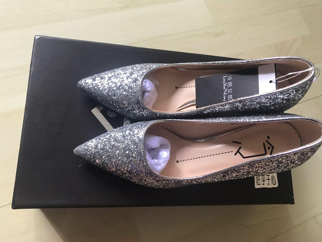 Silver colour wedding shoes