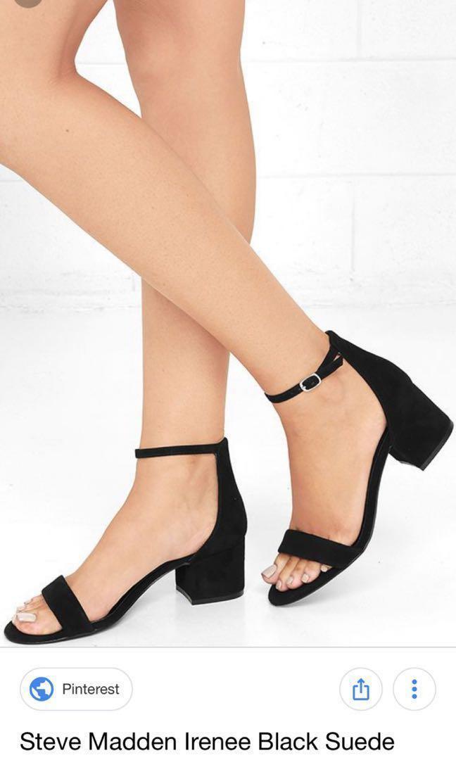be0c1e1542f Steve Madden Irenee Black Suede Heels, Women's Fashion, Shoes, Heels ...