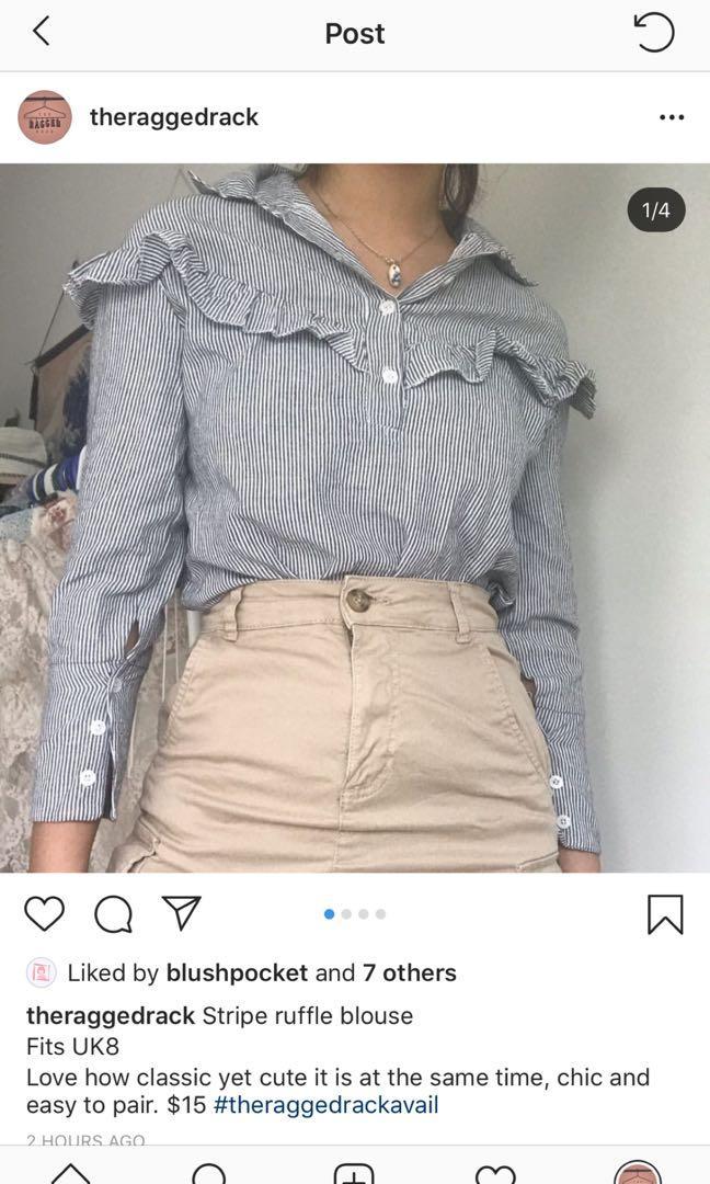 stripe ruffle blouse