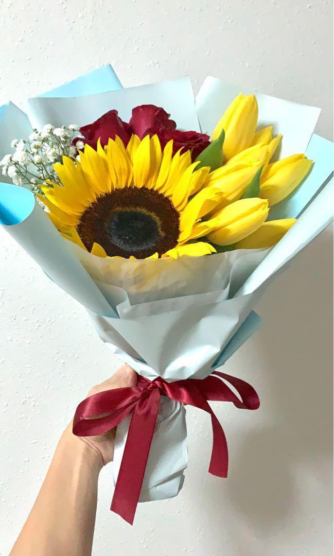 Sunflower Tulip Rose Bouquet Gardening Flowers Bouquets On Carousell