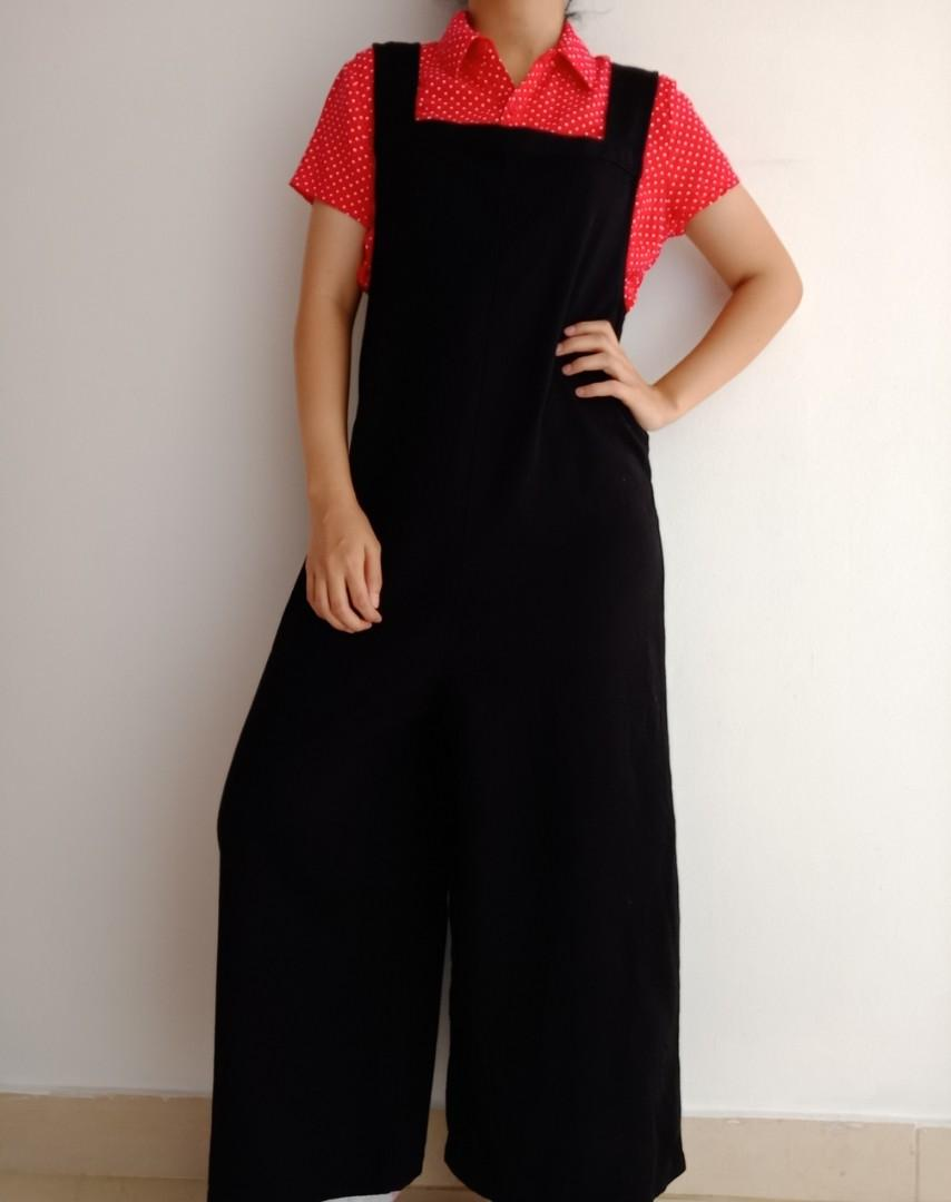 Thrift Black Cute Overall/Jumpsuit