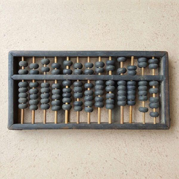 Vintage Ancient Wooden Black Abacus (Medium)