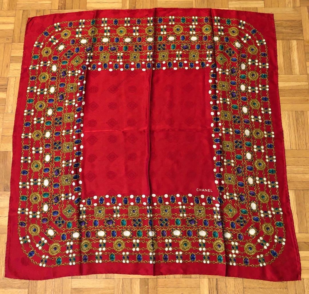 Vintage Chanel Red Silk Scarf