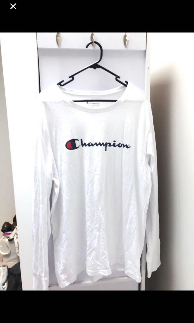 WHITE CHAMPION LONG SLEEVE SHIRT