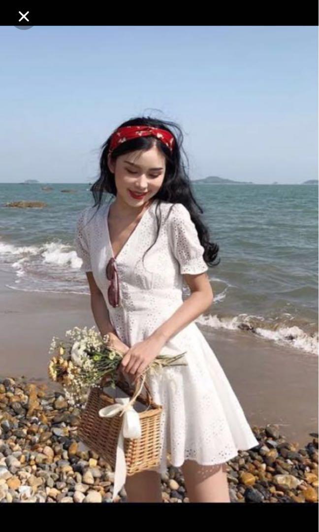 White Crochet Eyelet Dress