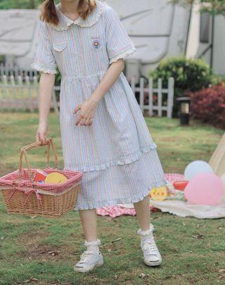 《洋裝 全新》日系彩虹條紋洋裝