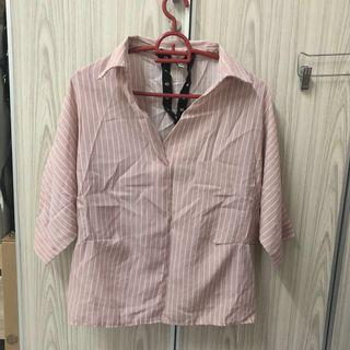 Oversized choker stripe blouse