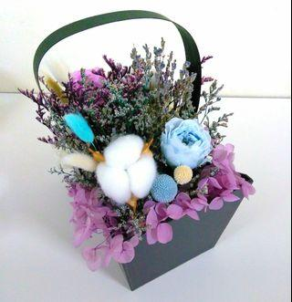 Double sided Eternal preserved roses, hydrangea, lavender flower basket