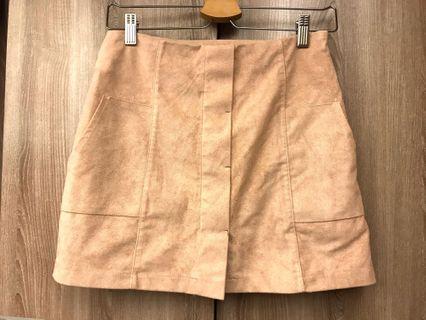 韓版 麂皮裸粉色短裙