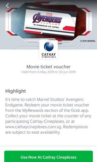 🚚 Cathay Cineplex movie ticket for avengers
