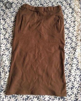 啡色厚身直長裙(有彈性)