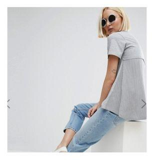 ASOS Basic Grey T Shirt with Striped Cape/Overlay Back (UK10)