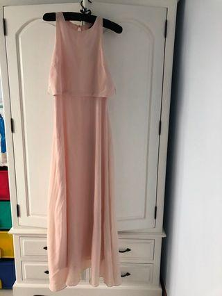 (Bnwt) bridesmaid double layer maxi dress pink