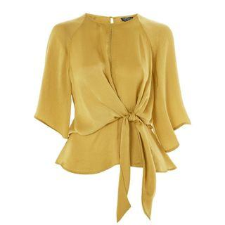 Topshop Hammered Satin Knot Top