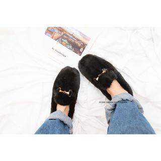 🚚 《黑色》冬季款韓國東大門同款鞋 毛毛鞋 懶人鞋 金屬釦 水貂毛 保暖 加绒 馬蹄釦 韓版