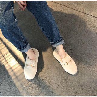 🚚 《杏色》冬季款韓國東大門同款鞋 毛毛鞋 懶人鞋 金屬釦 水貂毛 保暖 加绒 馬蹄釦 韓版