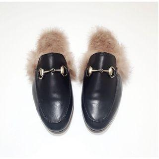 🚚 《韓國空運》現貨黑色23.5碼 正品流行穆勒鞋 懶人鞋 拖鞋 女鞋馬蹄扣皮鞋 拖鞋女鞋 牛津鞋 皮鞋