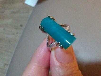 割愛分享母親節快樂。台灣藍寶自行設計款銀鑲鋯石。柱狀秀氣款。獨家。無二。不計較重量