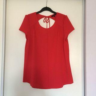 RW&Co Red Back Cut Out Blouse