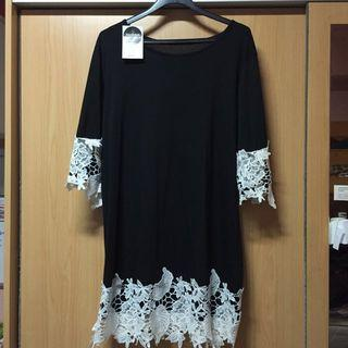 🚚 Black Blouse With White Lace