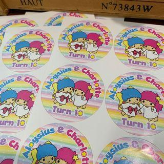 Twin stars theme birthday sticker labels for party goodie bag Gabor gift
