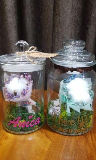 🚚 Customisable Name on Mason Jar with Dried Baby Breath & Cotton flower