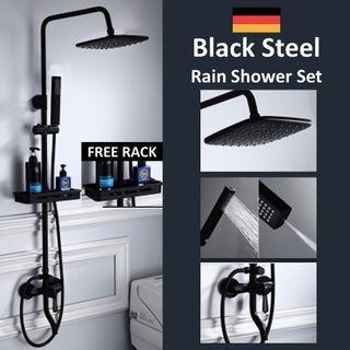 2 In 1 Black Matt Rain Shower Set Square & Round Available !