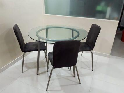 dining glass table n chair