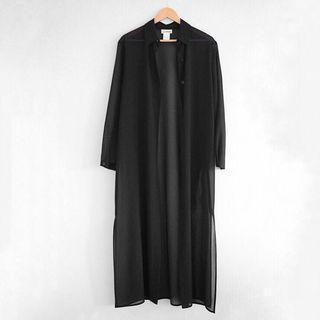 Black long line sheer cardigan
