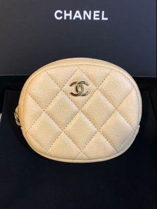 Chanel Round Coin Pouch Iridescent BEIGE 19S Caviar