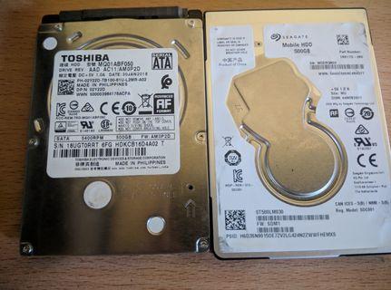 Harddisk Laptop 500GB 2 unit