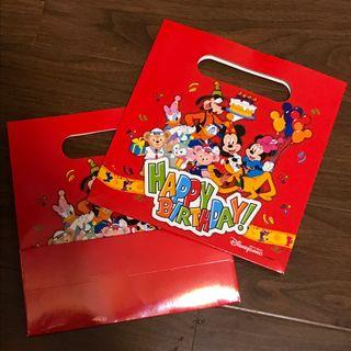 包郵 Disney 迪士尼酒店生日紙袋 2個