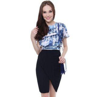 Clearance! Brand New MDS Collection Drape Pleated Skirt Navy M