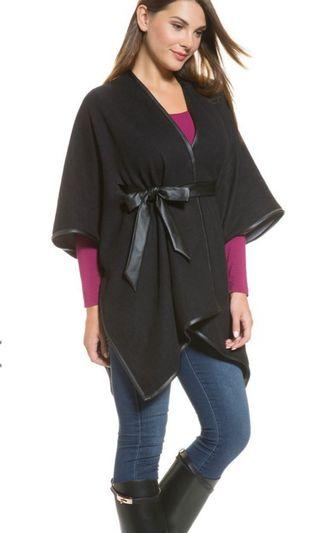TWO WAY FAUX LEATHER TRIMMED CAPE