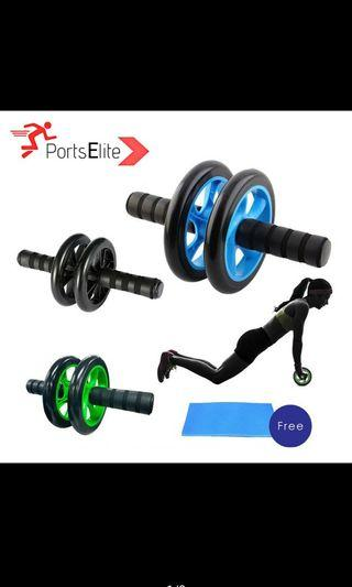 SPORTS ELITE Double Wheel AB Roller ABS Fitness Gym Equipment - Free Knee Mat