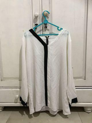White blouse with black stripe