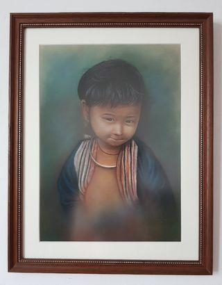 "Vintage ""Bashful Child"" Charcoal Painting With Frame"
