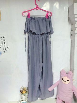 🚚 平口(吊帶)素色連身褲