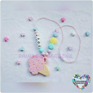 Handmade Ice cream Teether with  customised name Beads Necklace