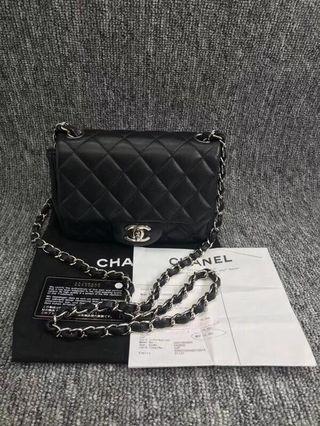 Chanel mini coco 17 羊皮 銀鏈 96成新