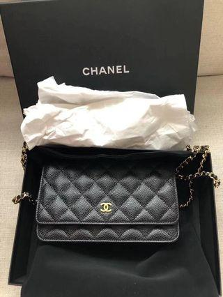 Chanel woc 經典款 荔枝牛皮菱格紋 金鏈