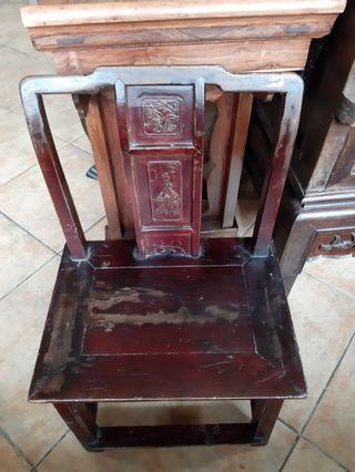 早期實木單背小椅子