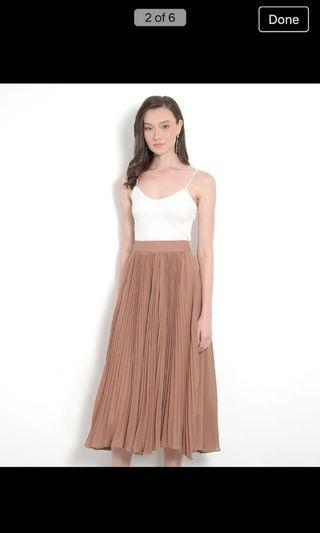 Éclair Pleat Midi Skirt - Sienna