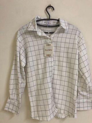 🚚 全新 白色格子襯衫